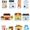 いろいろな家がマンガチックに描かれた無料ベクターイラスト素材02