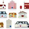 いろいろな家がマンガチックに描かれた無料ベクターイラスト素材03