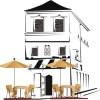 パリのオープンカフェをイメージしたおしゃれなイラスト素材。