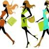 ショッピングを楽しむファッショナブルな13種類の女性のベクターイラスト素材