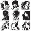 スタイリッシュな女性の顔・ヘアースタイルを描いた無料ベクターシルエット素材