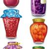 おいしそうなフルーツの瓶詰めの無料ベクタークリップアート6種類。