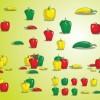 黄・緑・赤がきれいなパプリカと唐辛子のベクターイラスト素材