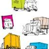 配送トラック5種類。手書きスケッチの無料ベクターイラスト素材
