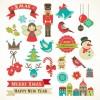 レトロなクリスマス用イラスト素材集・無料ベクタークリップアート