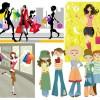 ショッピングを楽しむ女性を描いたおしゃれ系イラスト素材いろいろ