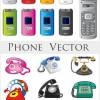 カラフルガラケーと固定電話の無料ベクタークリップアート素材