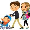 ベビーカーを押す家族を描いたベクタークリップアート素材