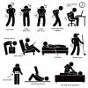 怪我(腰痛)痛みの種類や治療に関するピクトグラム風イラスト素材。