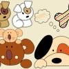 ぬいぐるみのようにかわいい犬のクリップアート素材