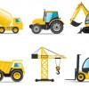 6台の工事車両(ダンプ・ミキサー・リフト・クレーンなど)無料ベクタークリップアートspざい