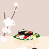 桜とお寿司、お花見セットの無料ベクタークリップアート素材