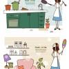 主婦の一日をテーマにしたお洒落なクリップアート素材(キッチンでお料理&リビングのお掃除)