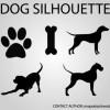 無料ベクターシルエット素材。犬のシルエット・足跡やおやつの骨など