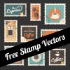 珈琲のイラストが描かれたおしゃれなベクター切手素材9種類