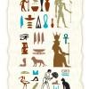エジプトの壁画(ホルスの目、コガネムシ、アンク記号、蛇など)無料ベクターイラスト素材