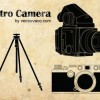 レトロなカメラと三脚の無料ベクターイラスト素材