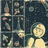 レトロかわいい宇宙がテーマのイラスト素材