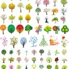 いろいろなデザインの木のイラスト素材