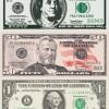 ドルのお札(1ドル・50ドル・100ドル)フリベクターイラスト素材