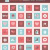 36個のラブリーでかわいい切手のイラスト素材。バレンタインやウェディングに!