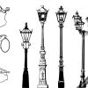 ヨーロピアンな街灯の無料ベクターシルエット素材