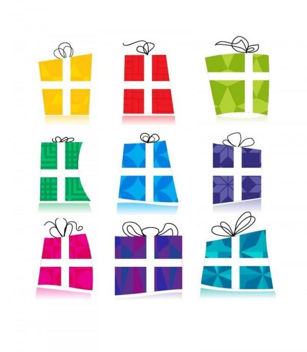061-Gift-Icons-600x687 カラフルな9個のギフト(プレゼント)の無料ベクタークリップアート素材