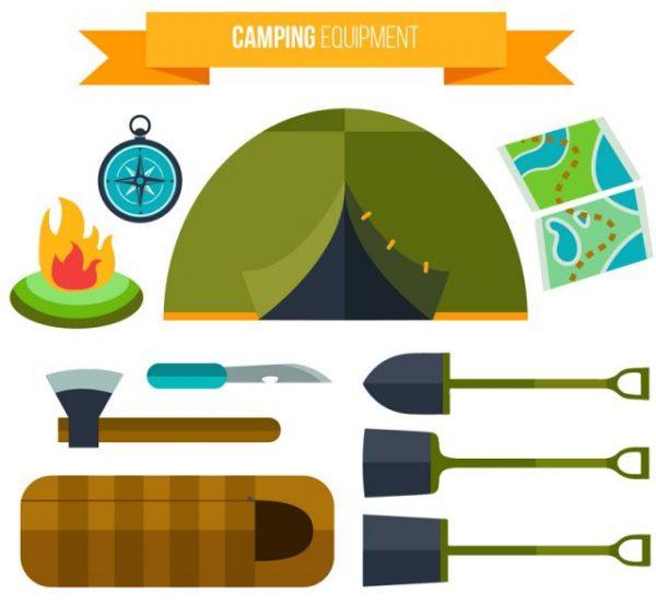 10-flat-camping-equipment-vector-600x555 ベクターフラットイラスト素材。10種類のキャンプアイテム