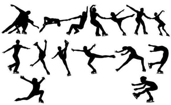 12-figure-skating-silhouettes-600x370 12のポーズ。フィギュアスケートのフリーのベクターシルエット素材