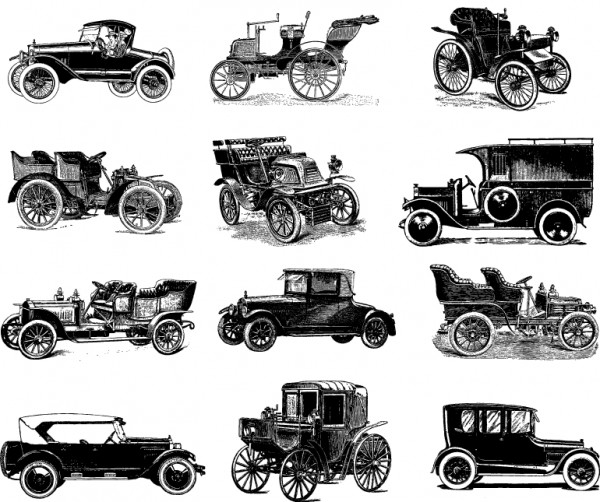 12-vintage-cars-vector-art-keepdesigning-600x502 手書きスケッチ風の無料ベクターイラスト素材。クラシックカー12台