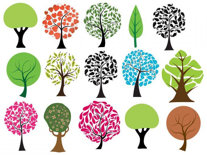 15個の抽象的な木の無料ベクタークリップアート素材 All Free Clipart