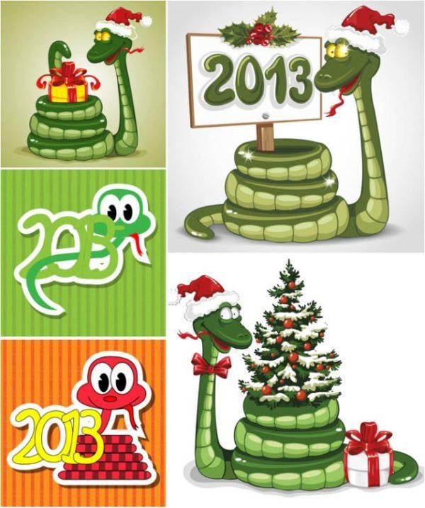 2013-new-year-snake-vector-600x717 2013年用にデザインされた干支(巳)の無料ベクターイラスト素材