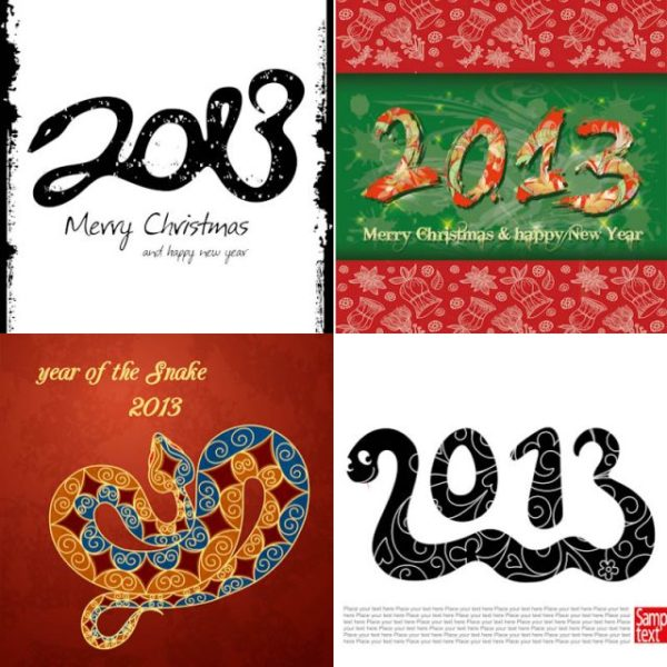 2013-year-of-snake-backgrounds-vector1-600x600 4種類の落ち着いた配色の年賀状用背景素材(無料ベクター)