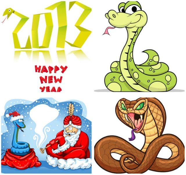 2013-year-of-snake-illustrations-vector 2013年用の年賀状に!干支(巳)の無料ベクターイラスト素材