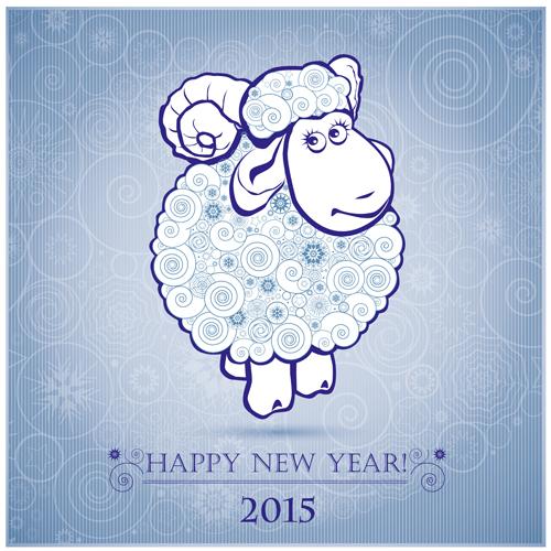 2015-year-of-the-sheep-vectors-background-03 2015年賀素材。キュートな未の無料ベクターイラスト素材