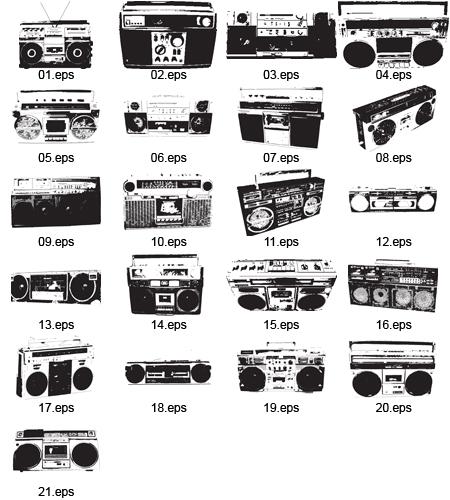 21-Free-Vector-Boomboxes 21個の昔懐かしいノスタルジックなラジカセ。無料ベクターシルエット素材