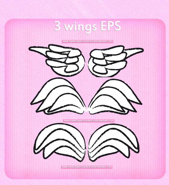 3-WINGS-eps かわいい手書きの「天使のはね」無料ベクターイラスト素材