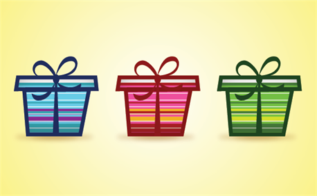 3-color-free-gifts キュートなギフトボックスの無料ベクタークリップアート素材