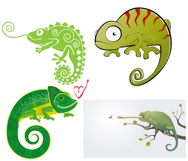 4-Chameleon-Vector カメレオンって意外とかわいい!無料ベクタークリップアート素材