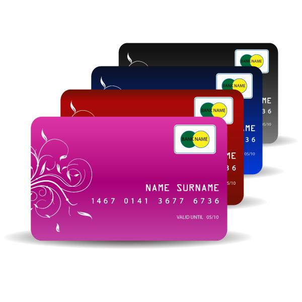 4-Credit-Card 無料ベクタークリップアート。4色のクレジットカード・イラスト素材。