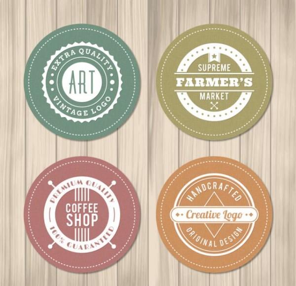 4-circular-shops-label-vector