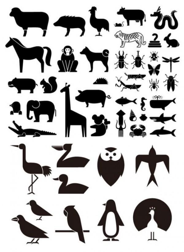 49-Various-elements-of-vector-silhouette-animal-600x821 干支、十二支を含むシンプルな動物の無料ベクターシルエット素材(49種類)