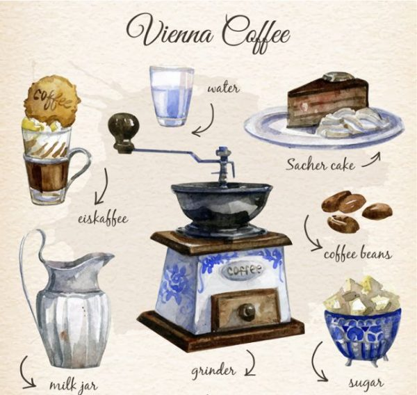 7-water-painted-coffee-elements-vector-600x568 水彩画っぽいタッチのカフェ関連のクリップアート