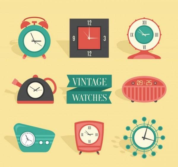 8-Retro-Clock-Design-Vector-600x565 8種類のレトロな時計の無料クリップアート素材