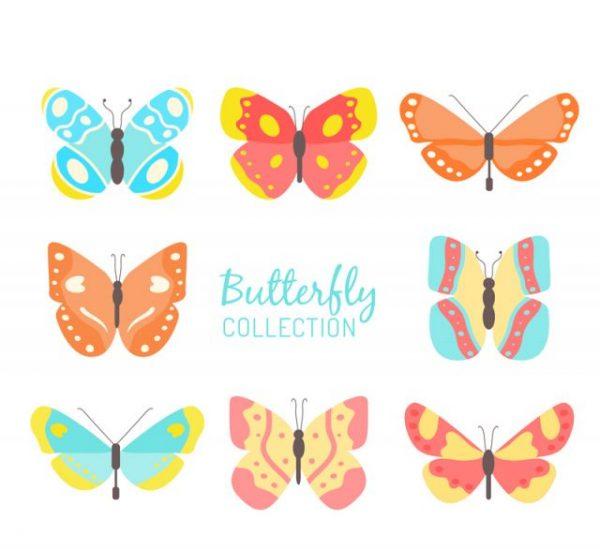 8-color-butterfly-design-vector-mat-600x549 カラフルに描かれた蝶のイラスト素材8種類