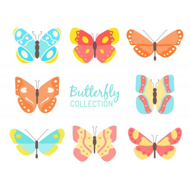 カラフルに描かれた蝶のイラスト素材8種類 All Free Clipart