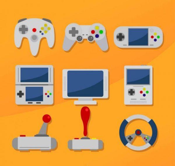 9-Delicate-Game-Equipment-Vector-600x568 ゲーム機やコントローラーのシンプルフラットなクリップアート素材