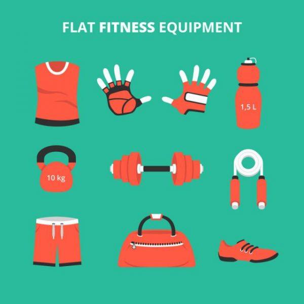 9-flat-fitness-supplies-vector-material-600x600 9個のフィットネスクラブで利用されるトレーニングアイテムのベクターイラスト素材
