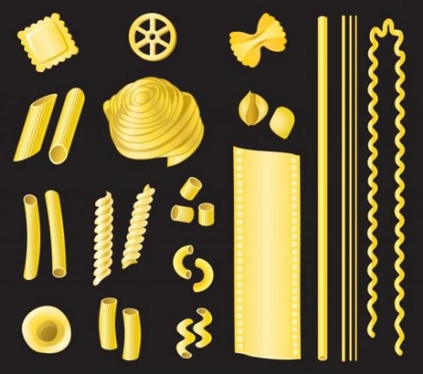 A-variety-of-pasta-shape-design-elements-600x530 スパゲッティやマカロニなどユニークな形のパスタ素材。無料ベクタークリップアート