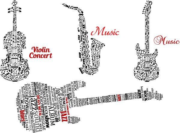 Abstract-musical-instruments-vector-600x445 音符や英単語、アルファベットで表現された楽器(ギター、サックス、バイオリン)のイラスト素材。